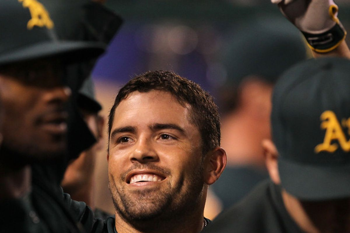 """David DeJesus responds to a standing ovation, after he sets the record for """"most HRs by a player whose season was utterly disappointing""""."""
