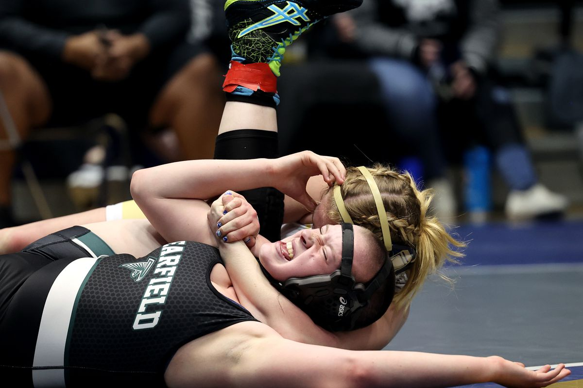 Emmy Finlinson of Westlake wrestles Alyxandra `Alyx` Walker of Clearfield in class 150 as girls compete for the 6A State Wrestling championship at West Lake High in Saratoga Springs on Monday, Feb. 15, 2021.
