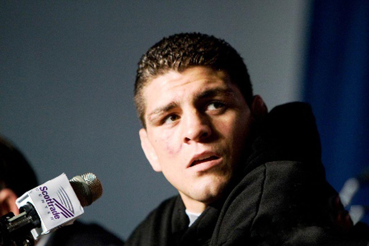 Former Strikeforce champion Nick Diaz speaks at a pre-fight press conference. (Photo via Showtime / sports.sho.com)