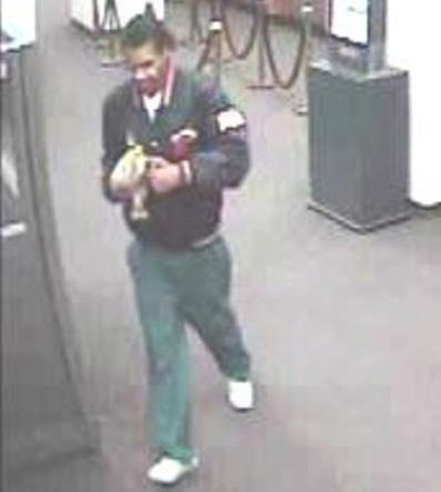Surveillance photo of the suspect who robbed a Loop bank Wednesday morning.   FBI
