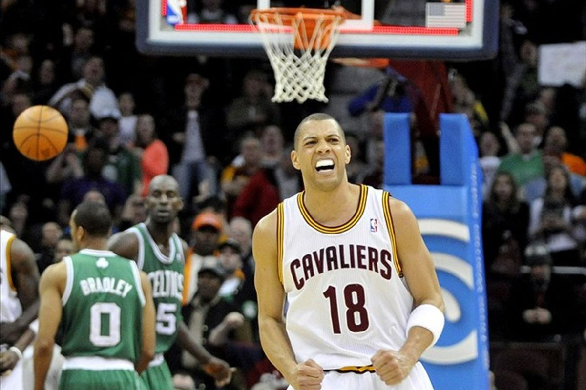 Feb 28, 2012; Cleveland, OH, USA; Cleveland Cavaliers shooting guard Anthony Parker (18) reacts after missing a last-second shot against the Boston Celtics in the fourth quarter at Quicken Loans Arena. Mandatory Credit: David Richard-US PRESSWIRE