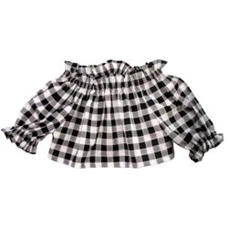 A gingham, off-the-shoulder top to wear whilst chicly tending to the farm.