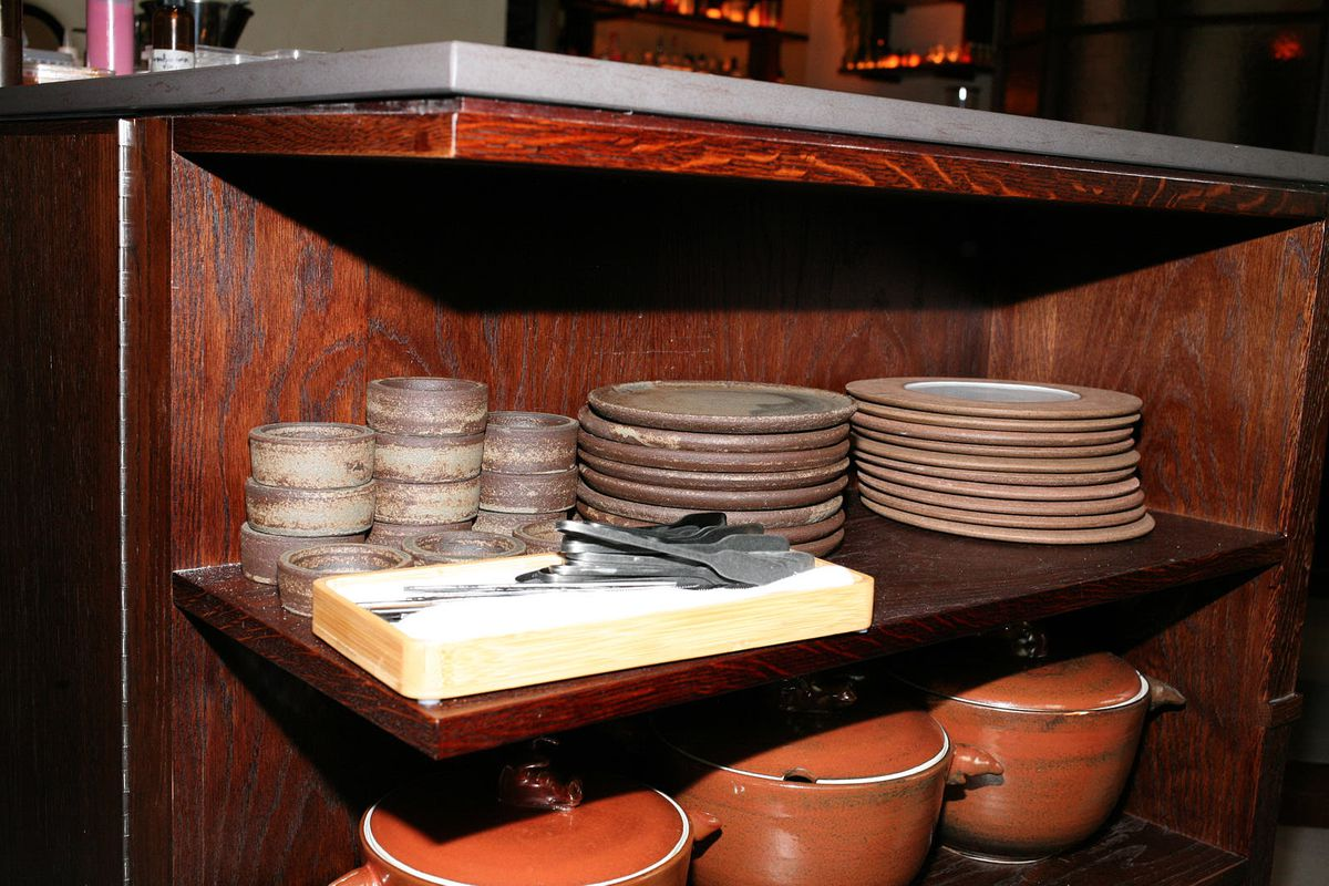 Plates, cutlery, and pots at Kol, Santiago Lastra's new Mexican restaurant in Marylebone central London