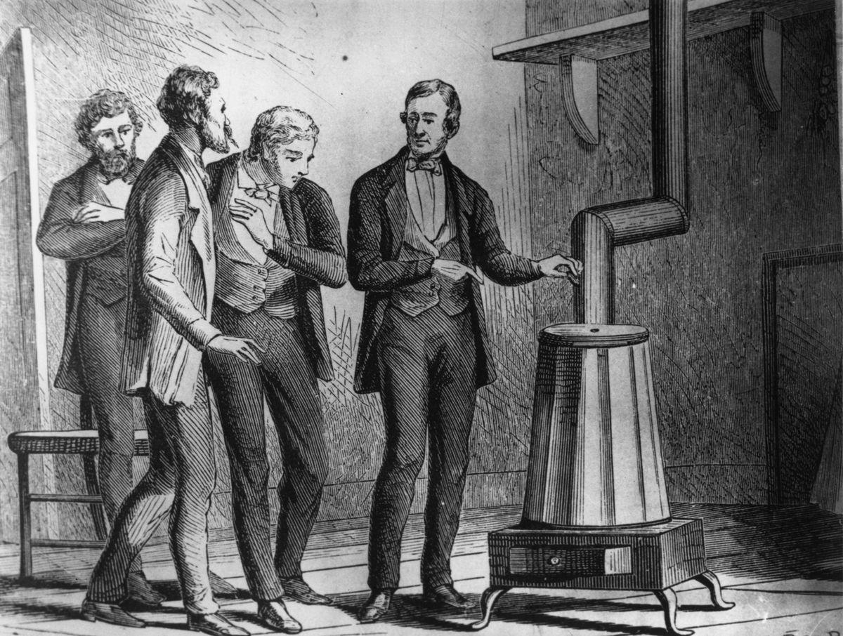 Charles Goodyear, demonstrating his vulcanization machine.