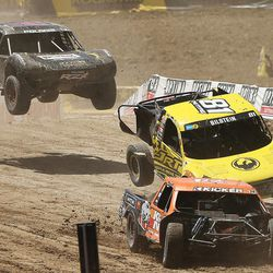 Racers compete in the Pro 4 division of the Lucas Off-Road races in Tooele on Saturday, June 24, 2017.