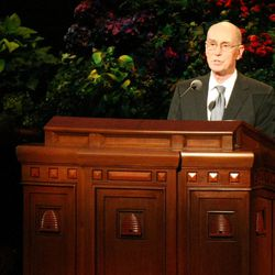 President Henry B. Eyring speaks at the General Relief Society Meeting at the Conference Center on Temple Square in Salt Lake City on Saturday, Sept. 29, 2012.