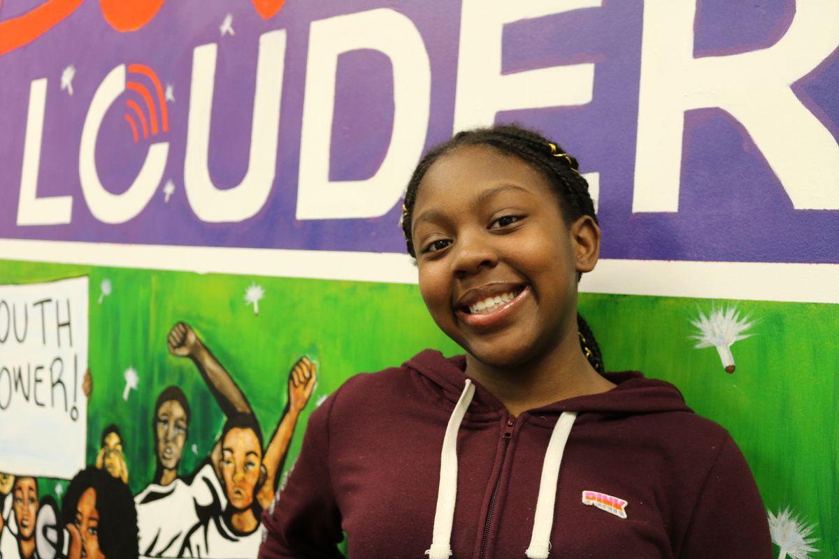 Aaliyha Johnson, a sophomore, works to prevent gun violence in her neighborhood through the organization YO S.O.S.