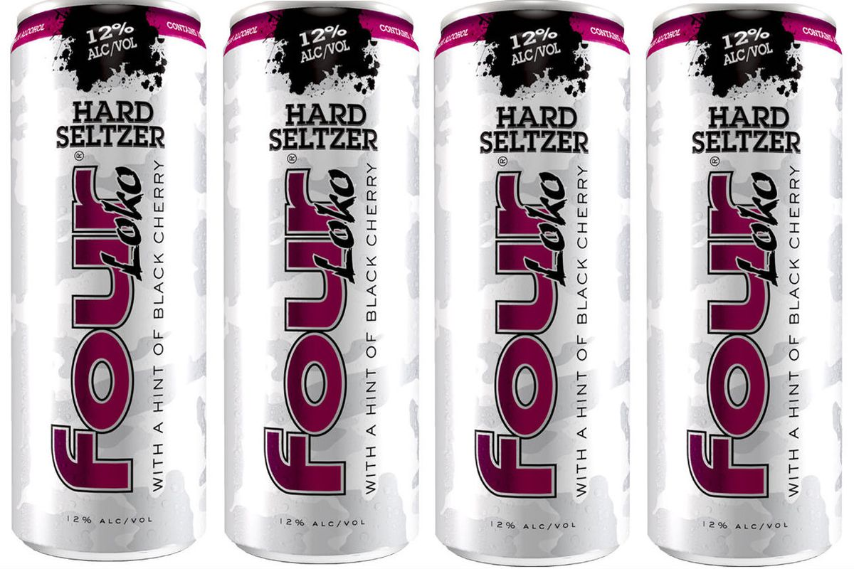Four cans of Four Loko hard seltzer