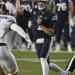 Brigham Young Cougars quarterback Zach Wilson (1) throws against the Texas State Bobcats in Provo on Saturday, Oct. 24, 2020.