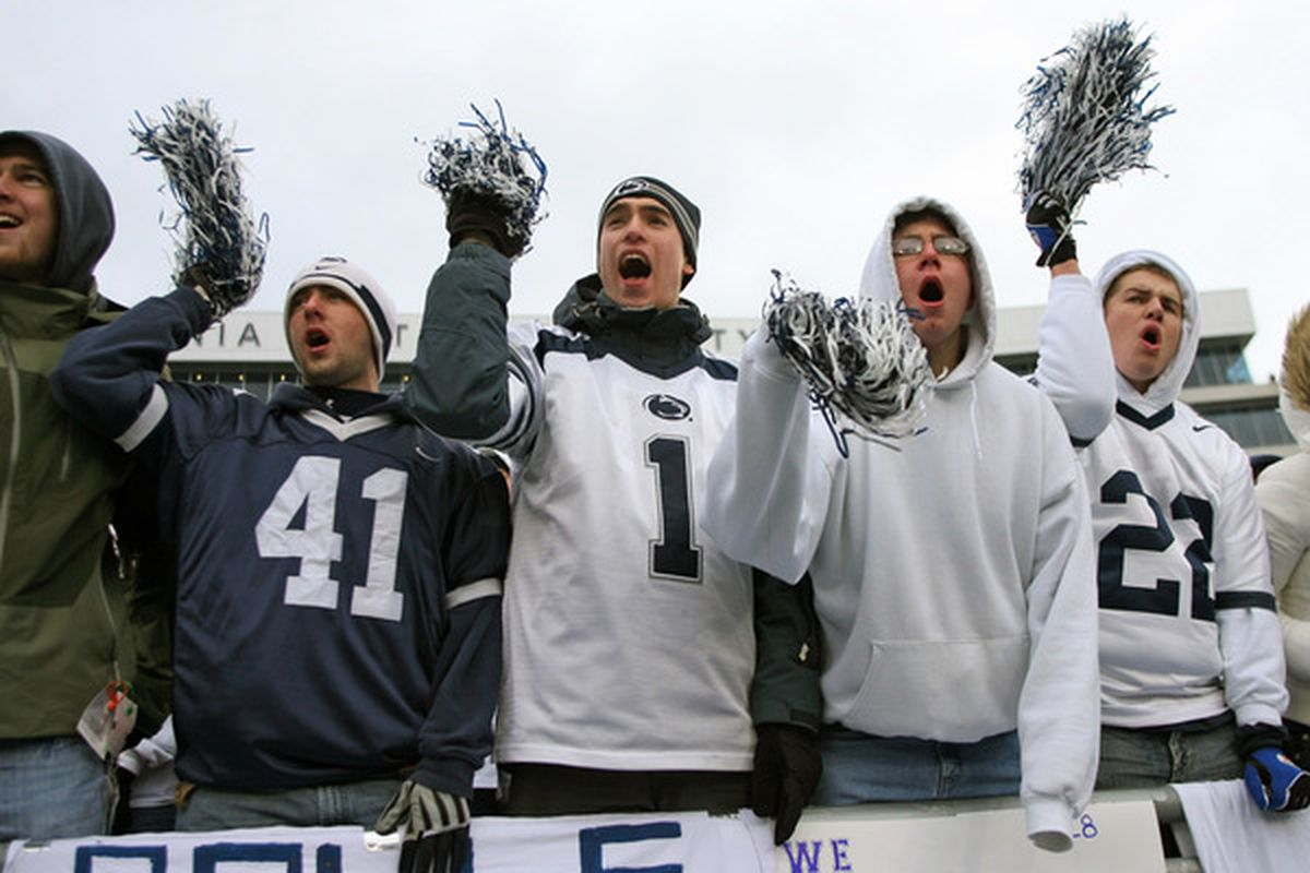 STATE COLLEGE PA - NOVEMBER 27: Penn State Nittany Lion fans cheer during a game against the Michigan State Spartans on November 27 2010 at Beaver Stadium in State College Pennsylvania. The Spartans won 28-22. (Photo by Hunter Martin/Getty Images)