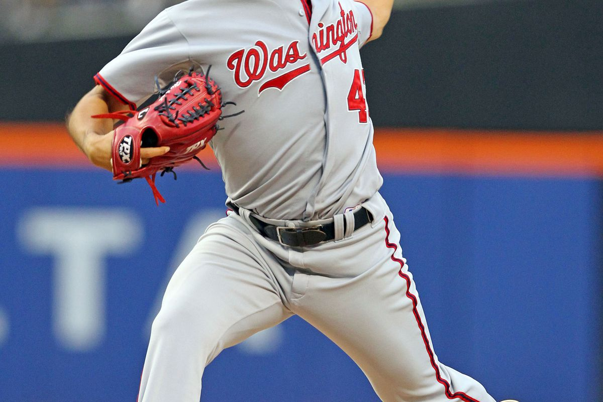 July 24, 2012; New York, NY, USA; Washington Nationals pitcher Gio Gonzalez (47) throws a pitch during the second inning of a game against the New York Mets at Citi Field. Mandatory Credit: Brad Penner-US PRESSWIRE