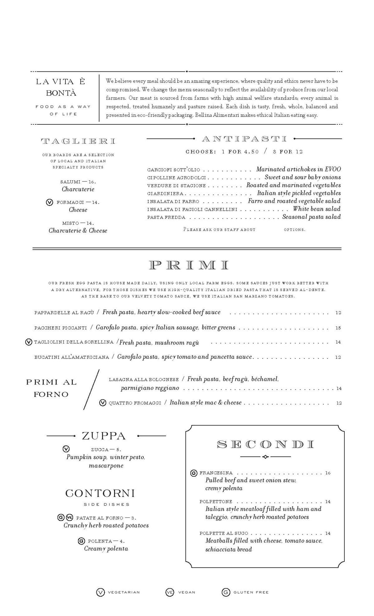 Bellina Alimentari menu