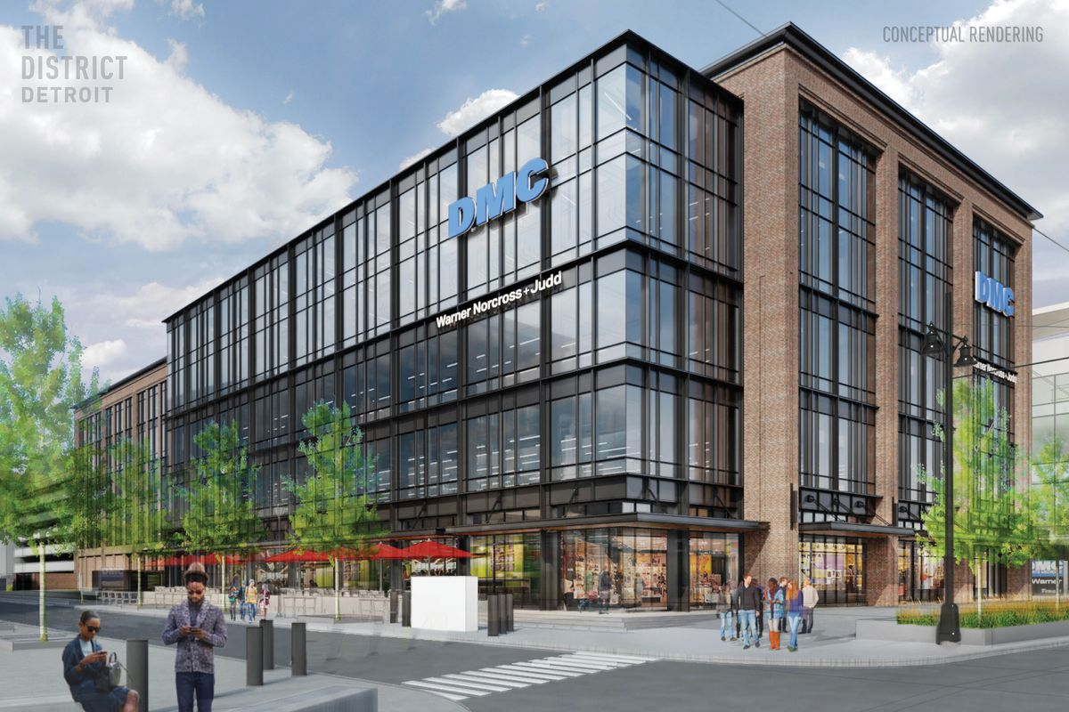 Rendering a multi-story glass building with black window frames and brick columns. People move in and out of the building on the ground floor.