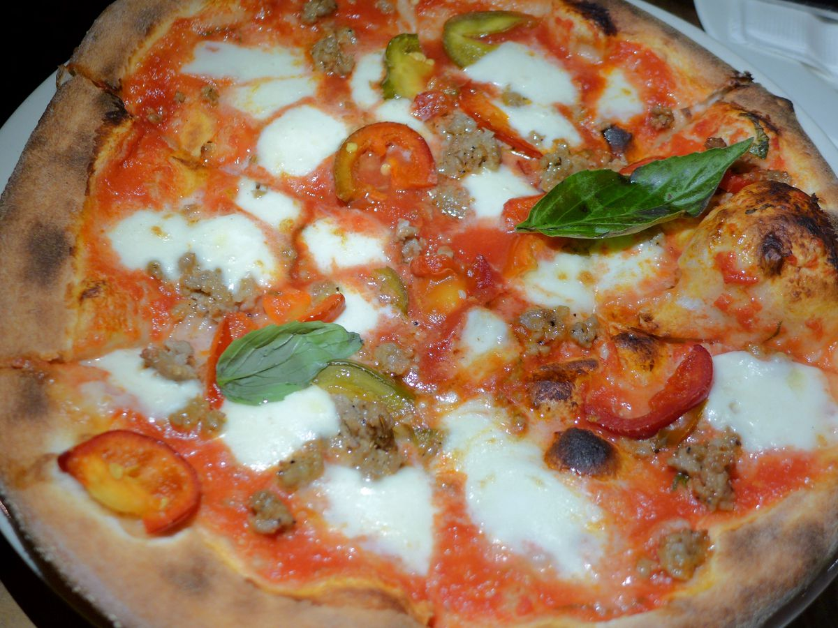 A red and deeply browned margherita pizza with white pools of cheese and a basil leaf.