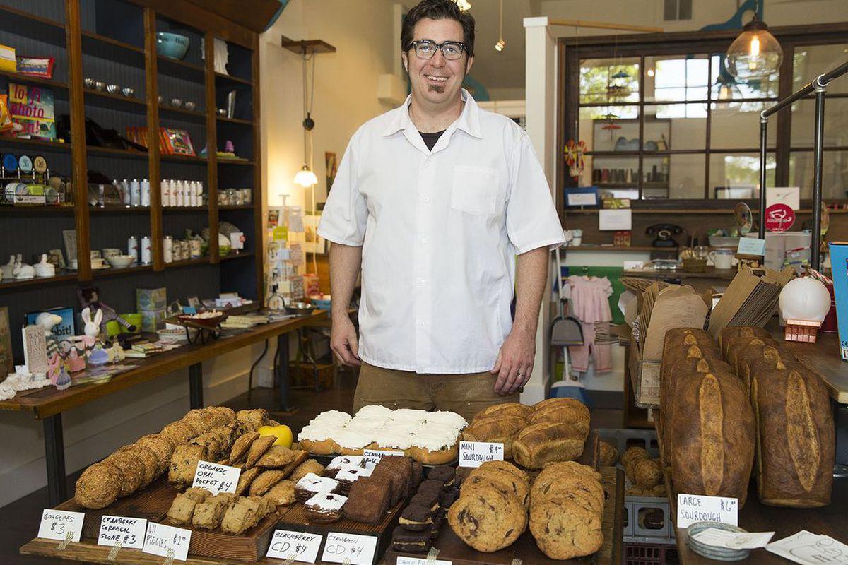 Josh Grunig at his Saturday morning pop-up, Pocket Bakery.