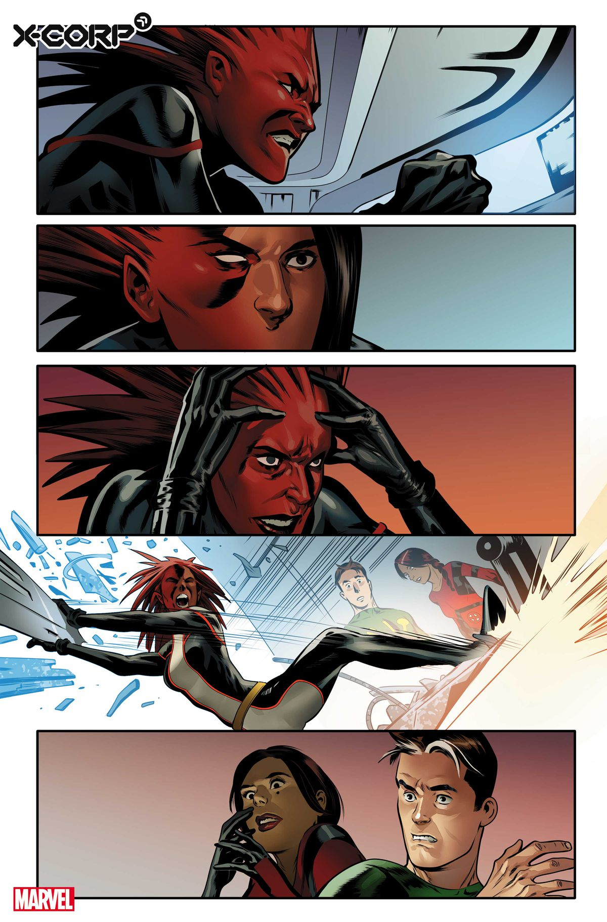 Monet St. Croix destroys a computer before Trinary and Multiple Man preview for X-Corp # 1, Marvel Comics (2021)