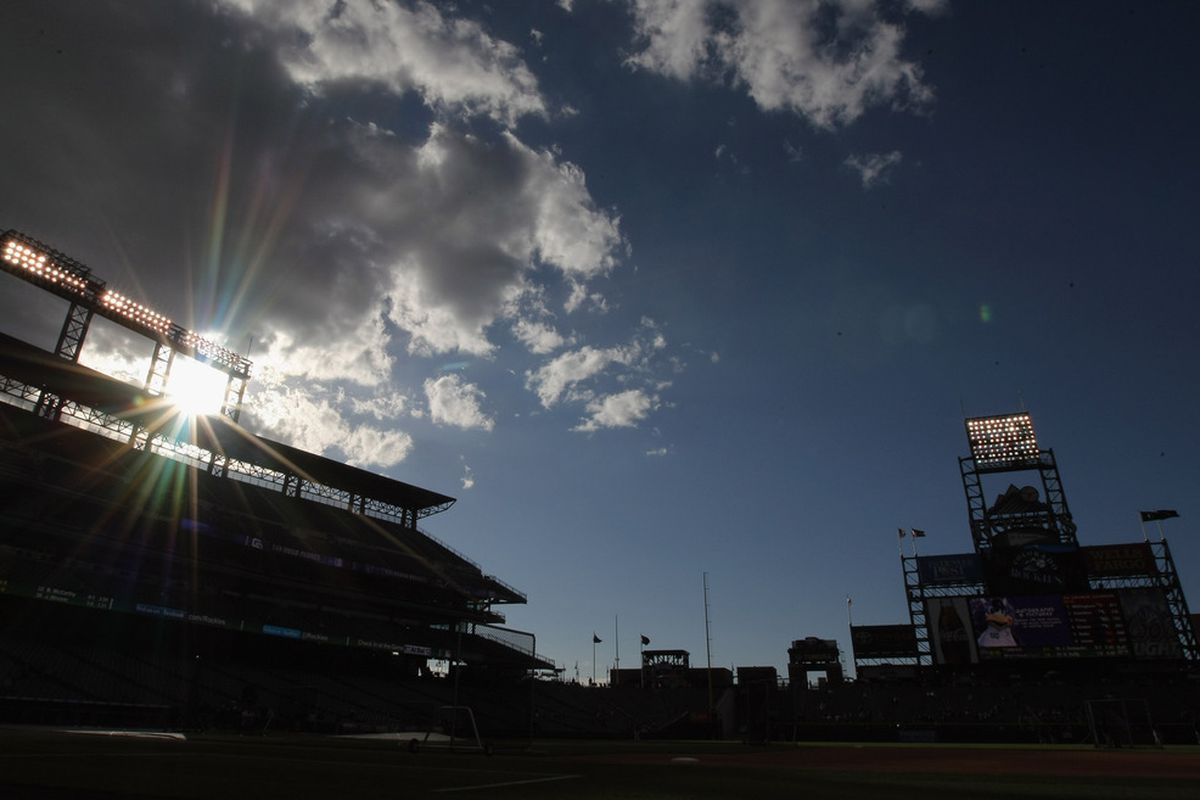 DENVER, CO - APRIL 16:  The sun sets behind the stadium as the San Diego Padres prepare to face the Colorado Rockies at Coors Field on April 16, 2012 in Denver, Colorado.  (Photo by Doug Pensinger/Getty Images)