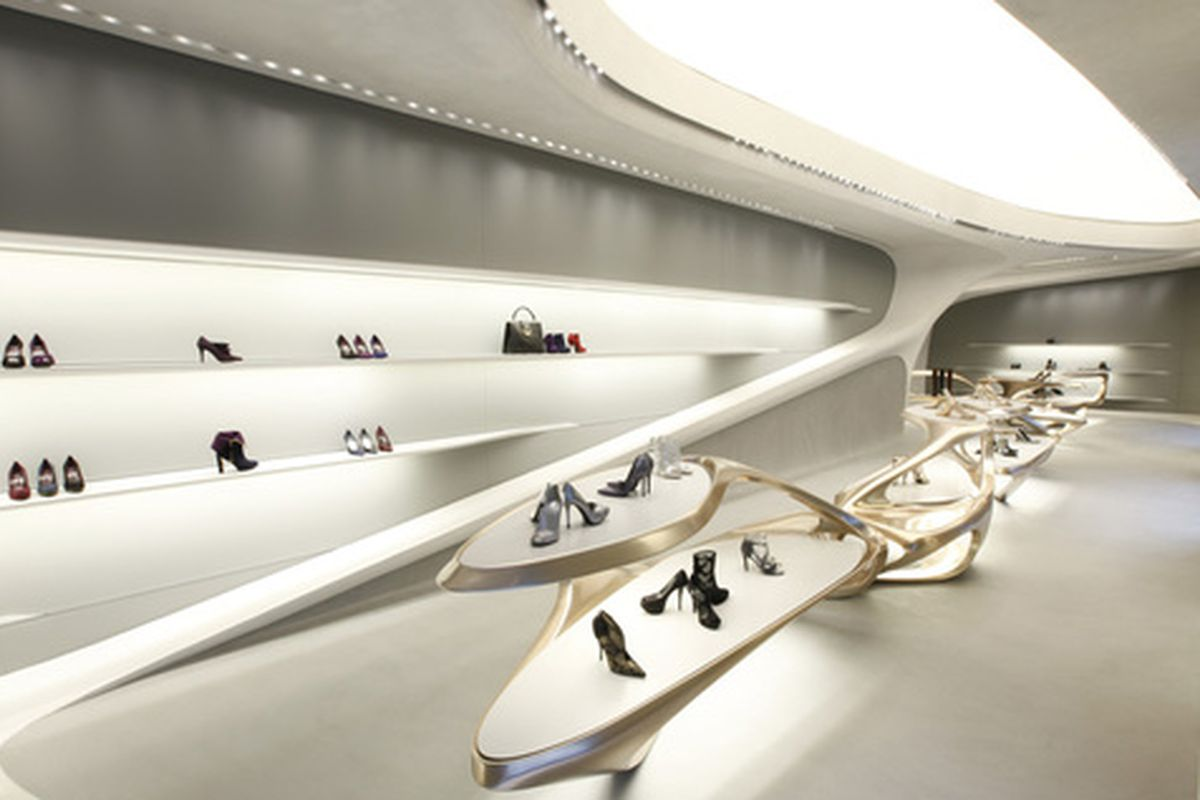 """Rendering via <a href=""""http://www.dezeen.com/2013/09/18/zaha-hadid-designs-boutiques-for-stuart-weitzman/"""">Dezeen</a> by way of <a href=""""http://curbed.com/archives/2013/09/18/zahadesigned-shoe-store-is-appropriately-spaceshiplike.php"""">Curbed</a>."""