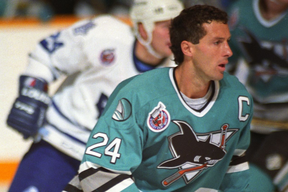 TORONTO, ON - OCTOBER 24: Doug Wilson #24 of the San Jose Sharks turns up ice against the Toronto Maple Leafs on October 24, 1992 at Maple Leaf Gardens in Toronto, Ontario, Canada.