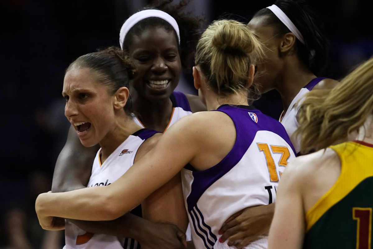 One might figure that the Seattle Storm have a clear advantage over the Phoenix Mercury, having won 10 of their last 11 meetings. But containing WNBA leading scorer Diana Taurasi is no small feat. <em>Photo by SBN Arizona.</em>