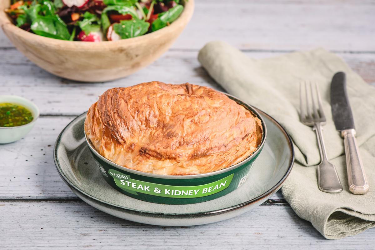 "Fray Bentos tinned pies has created a vegan —""steak"" (tofu) and kidney bean pie for PETA Vegan Awards 2019"