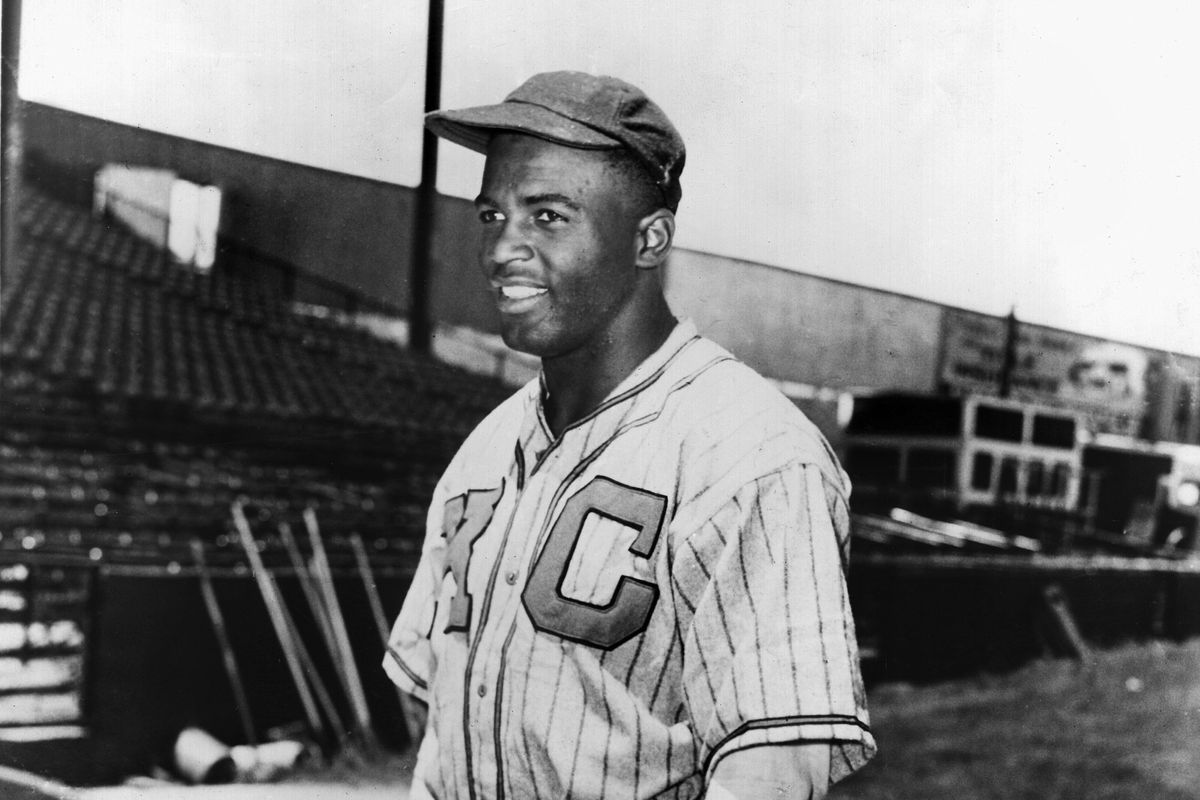 Jackie Robinson pictured as a shortstop for the Kansas City Monarchs of the Negro Leagues in 1944.