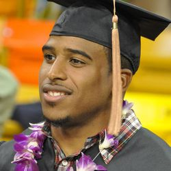 Bobby Wagner, a Huntsman Graduate, was surrounded by friends and family after commencement. Wagner was the 47th overall pick by the Seattle Seahawks last month.