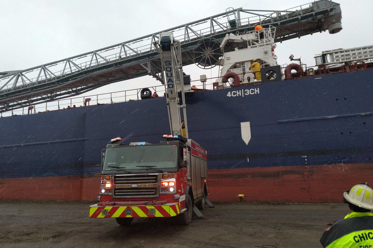 A person was rescued after falling 100 feet at a boat on the South Side on the Calumet River.