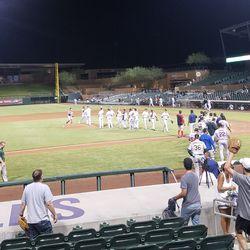 The Mesa Solar Sox celebrate their 8-5 win