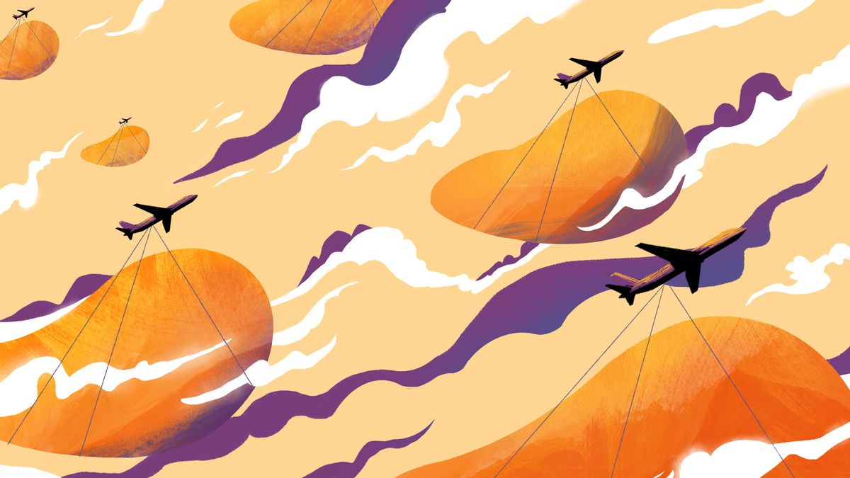 An illustrations of purple planes towing huge mangoes through an orange sky with white and purple clouds.