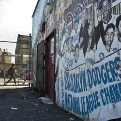 A mural recalling the Brooklyn Dodgers baseball team, shows signs of decay on the wall of a subway station on Wednesday, Sept. 19, 2012 in Brooklyn, N.Y.  The mural is a short walk from Ebbets Field, where the Dodgers played and now a sprawling apartment complex to thousands after the team moved west  decades ago.  Now Brooklyn is back in the professional leagues again with a new arena and the Brooklyn Nets' NBA franchise.