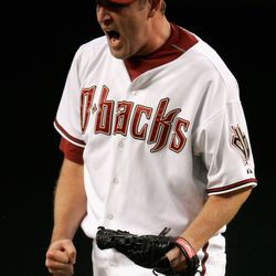 A less happy Webb reacts after allowing a first inning run against the Colorado Rockies in Game One of the National League Championship Series at Chase Field on October 11, 2007