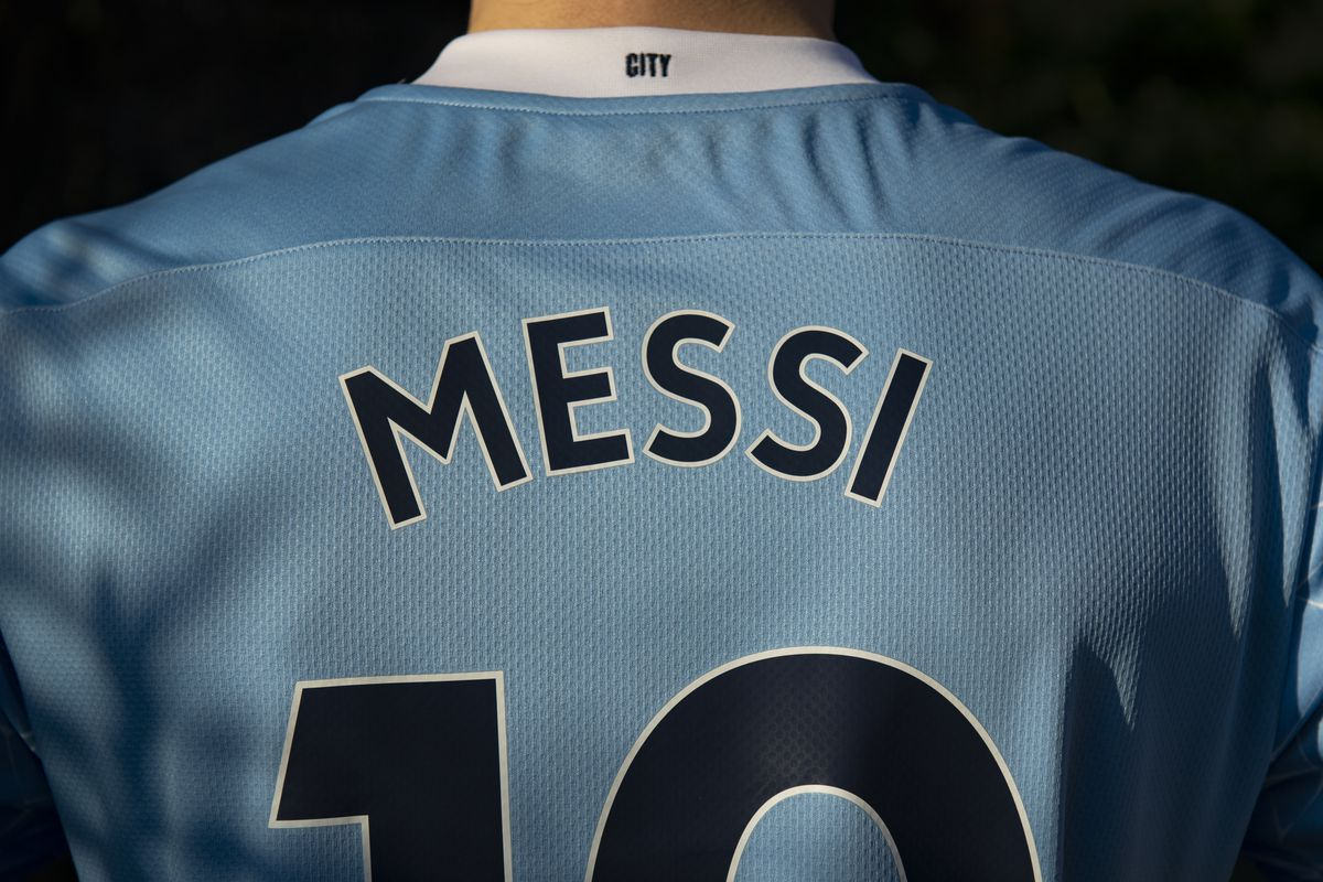 Manchester City Home Shirt with Messi on the Back