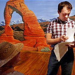 In front of a mural in a Desert Star Playhouse hallway, Don Farmer, right, studies an audition monologue.