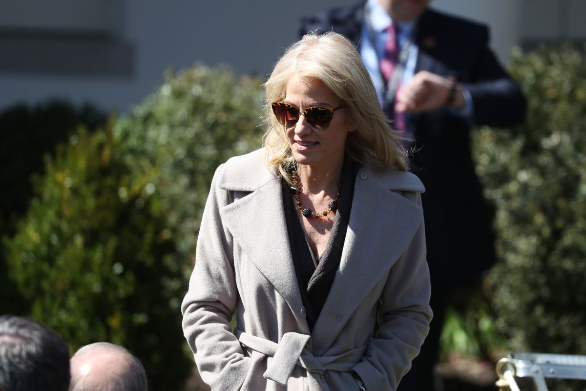 Kellyanne Conway walking away from the White House.