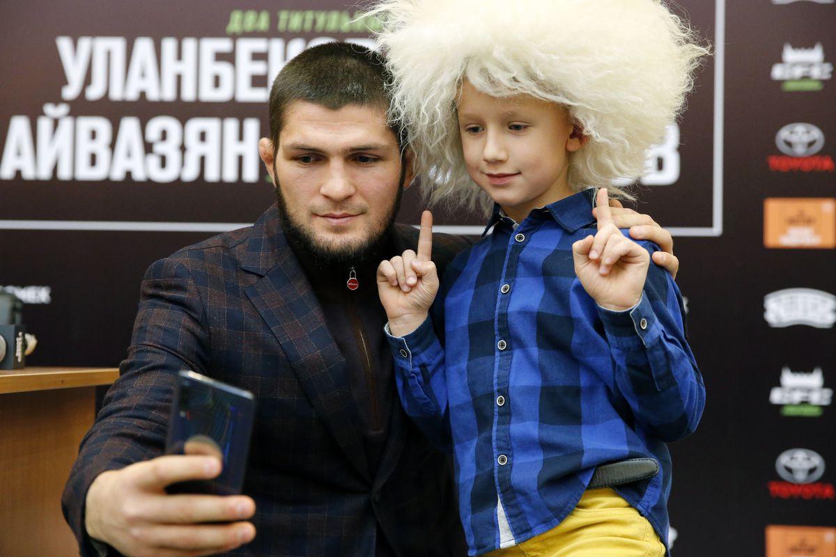 Russian MMA fighter Khabib Nurmagomedov gives press conference in Krasnodar
