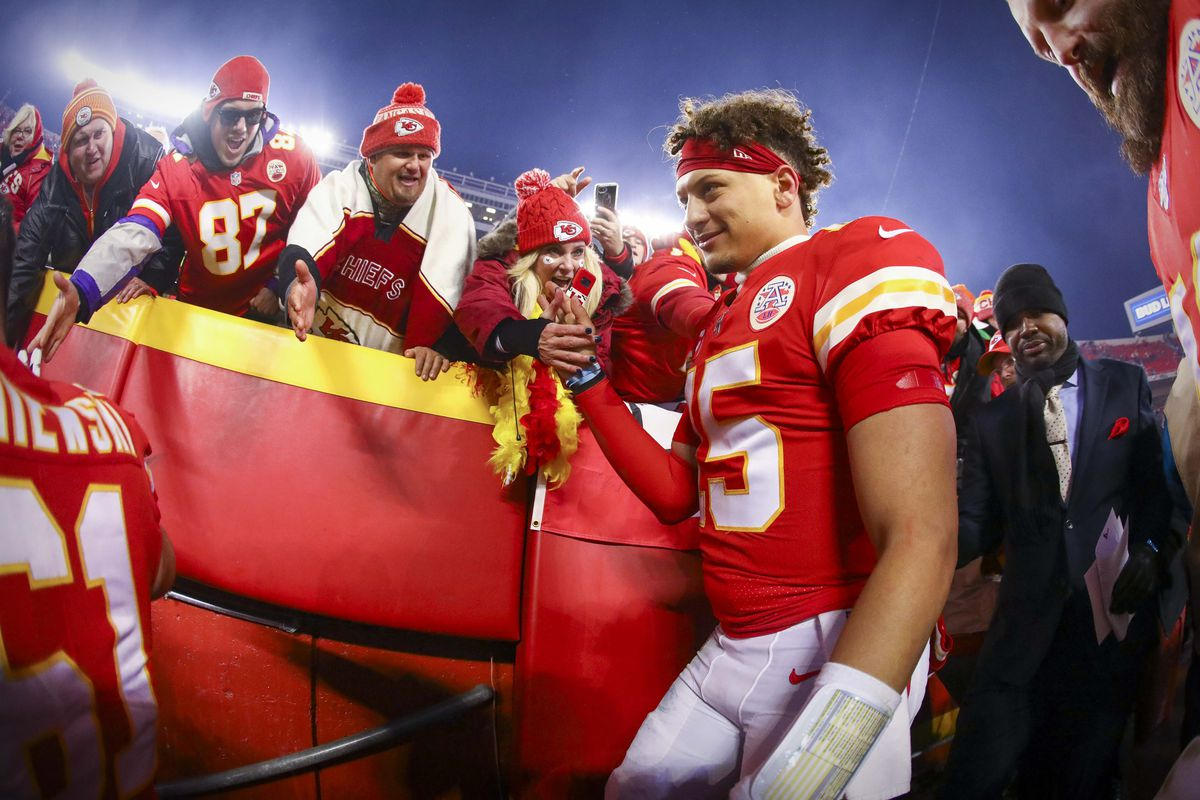 Kansas City Chiefs quarterback Patrick Mahomes leaves the field after the win over the Houston Texans in a AFC Divisional Round playoff football game at Arrowhead Stadium.