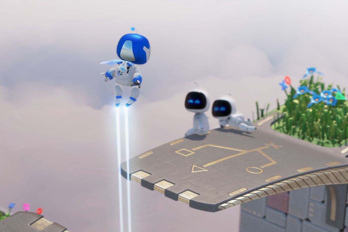 in Astro's Playroom, Captain Astro floats above a platform on which two Astrobots are sitting