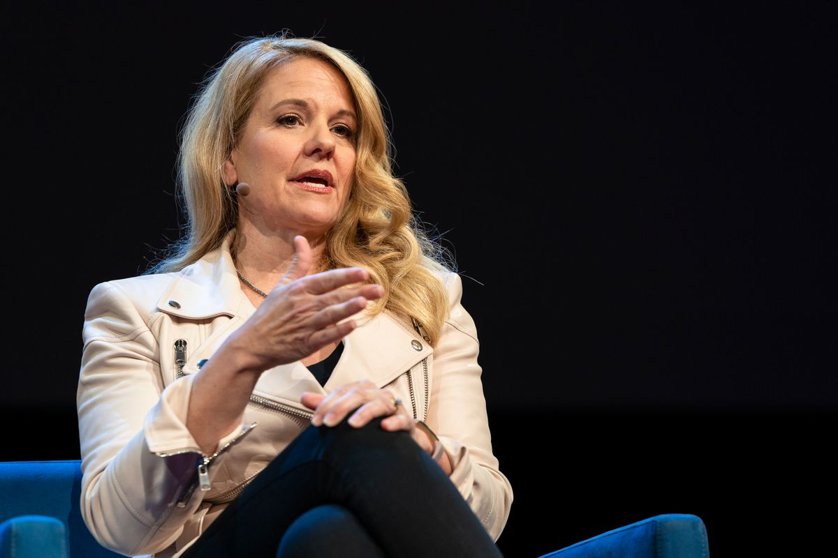 SpaceX president Gwynne Shotwell onstage at the TED conference