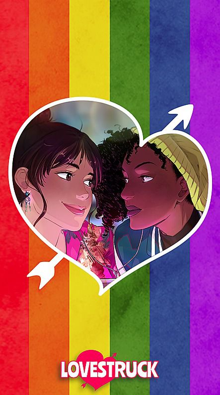 Two people looking at each other on a rainbow background