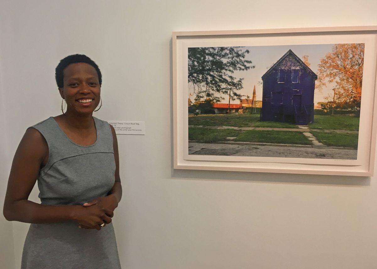 Amanda Williams painted this vacant house purple for an earlier art project. After the house was torn down, a boy who lived down the block used wood from the house to create a toy box that is part of Williams' new exhibit at Chicago's Museum of Contempora