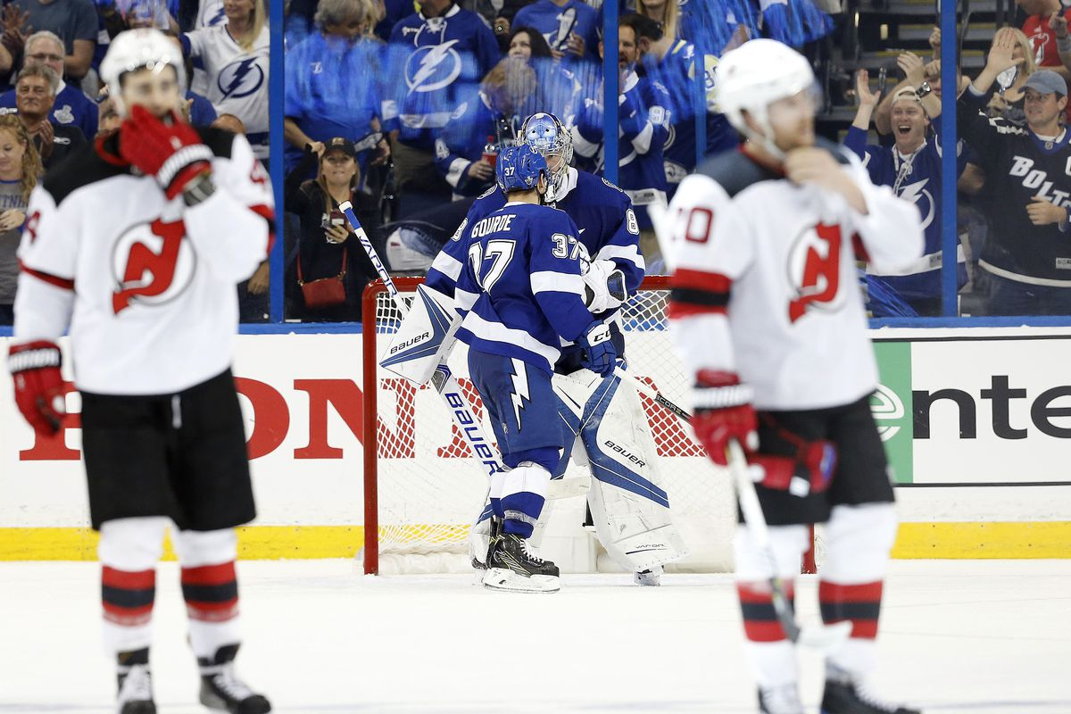 new jersey devils turned over by tampa bay lightning game 1 playoff