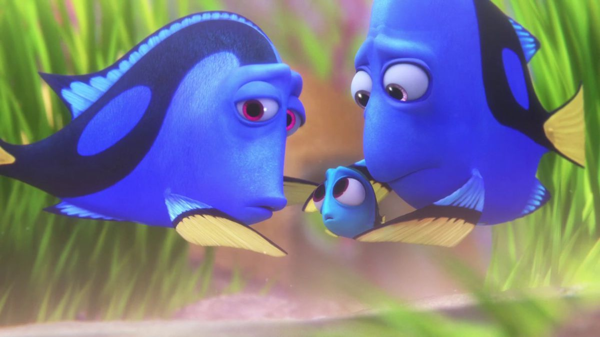 Dory and her parents in Finding Dory