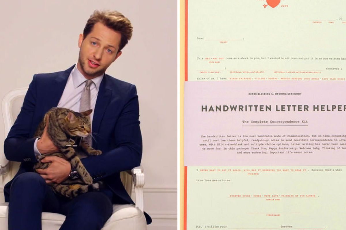 """Eticats and hand written notes, Love Derek. Images via <a href=""""http://www.papermag.com/2012/12/the_fake_marc_jacobs.php"""">Paper Mag</a>"""
