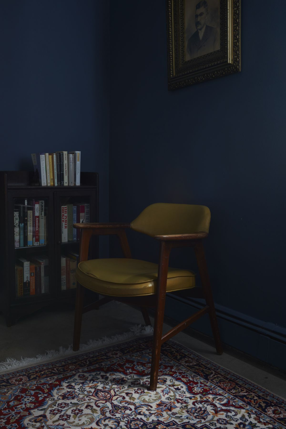 A room in the rental unit is painted dark blue.