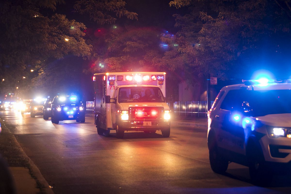 The procession travels to the Cook County medical examiner's office after a Chicago Police Department supervisor was found unconscious in his squad car on I-94 near the Stony Island feeder ramp and later pronounced dead at Trinity Hospital, early Sunday,