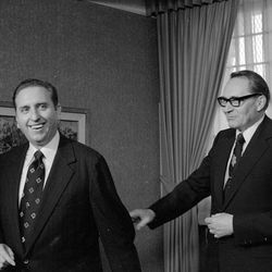 Elder L. Tom Perry and President Thomas S. Monson are shown in this April 1974 from the Deseret News Archives