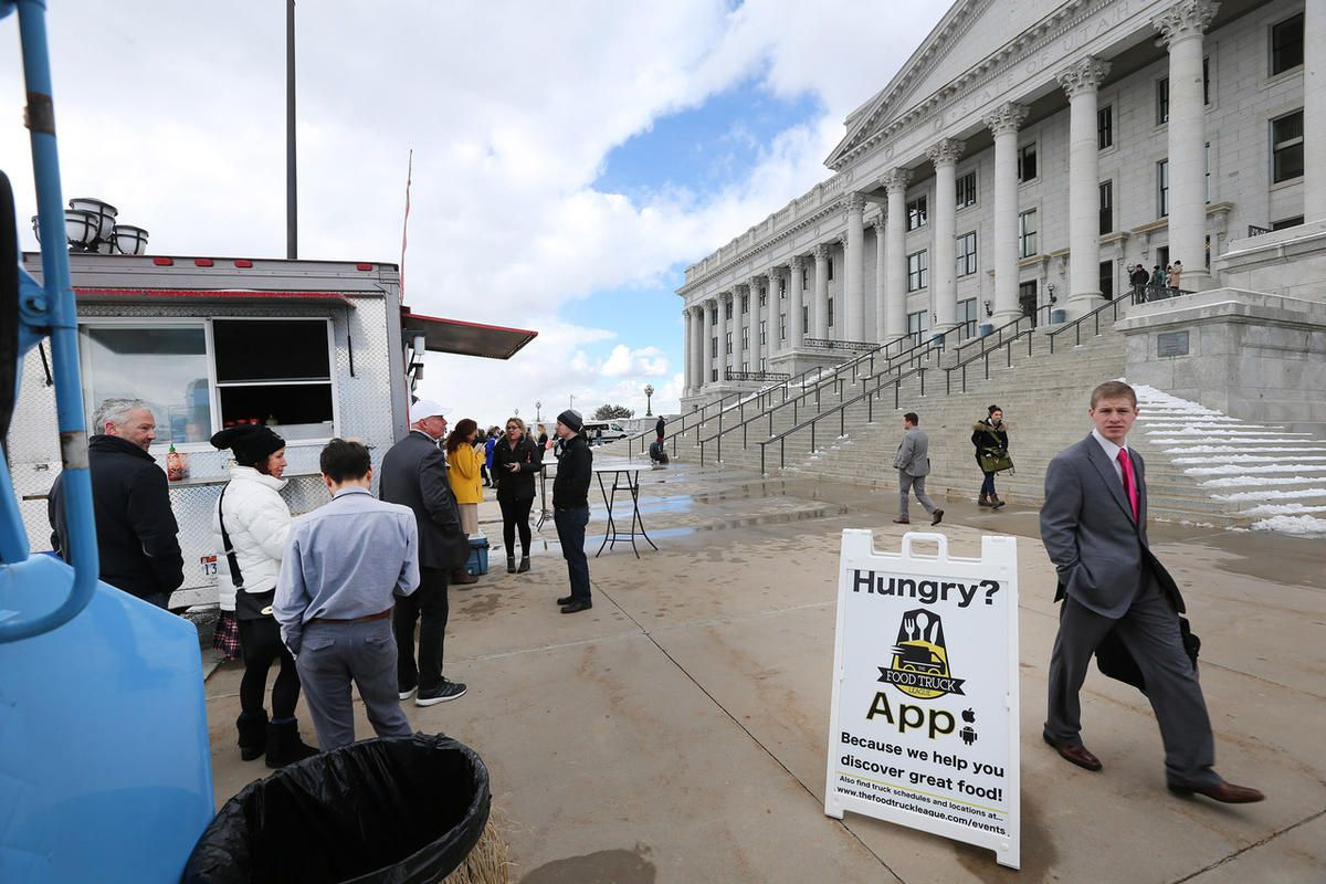Food trucks at the Utah State Capitol on Friday, Feb. 24, 2017.