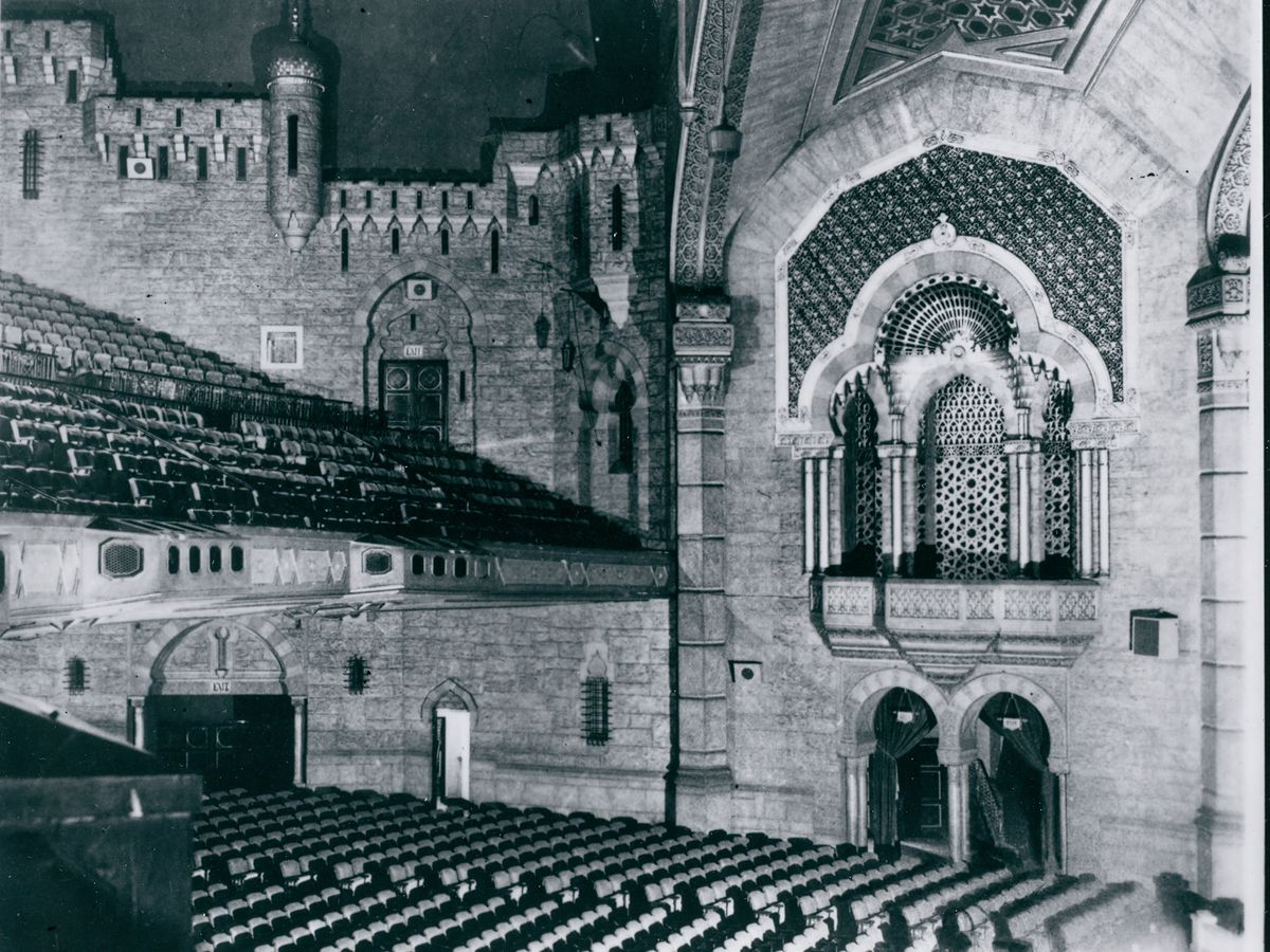 Inside the fox theatre in a black and white photo, with seating at bottom.