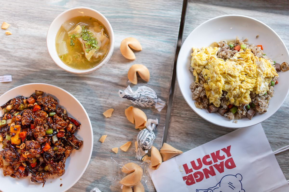 From left, cashew chicken, wonton and winter melon soup, and duck fried rice from Lucky Danger